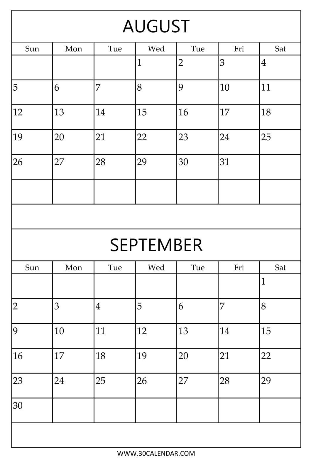 Printable Calendar 2018 August September | Printable Calendar 2019 pertaining to August And September Calendar Template