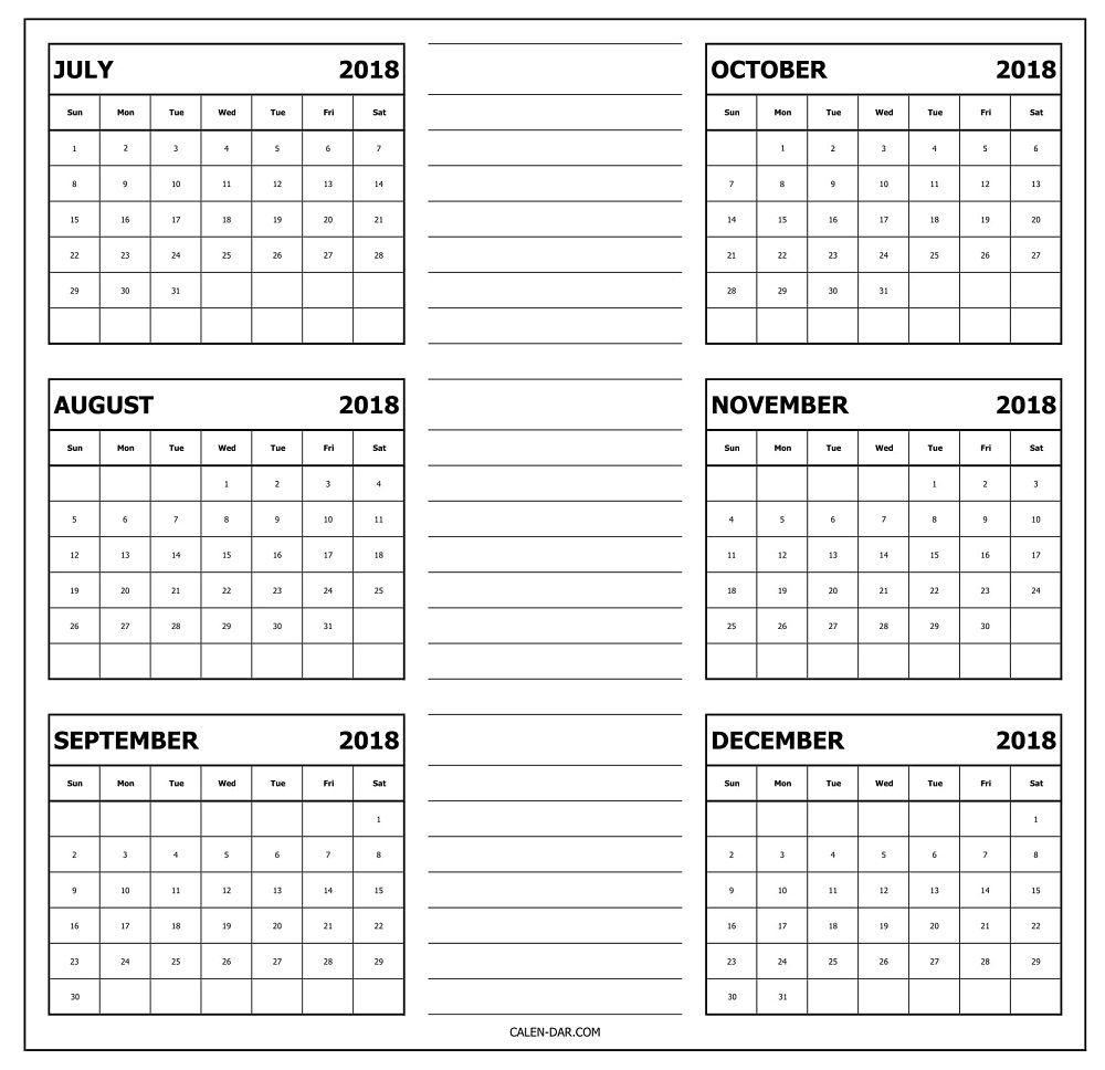 Printable Calendar 2018 August Through December | Printable Calendar throughout Calander From August - December