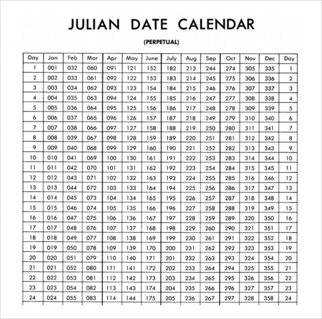 Printable Calendar 2018 Julian Dates | Printable Calendar 2019 regarding What Is Today Julian Date Calendar