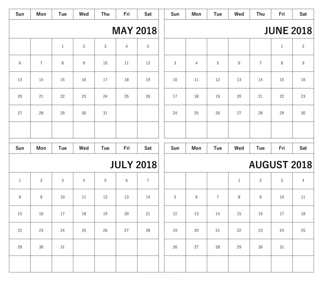 Printable Calendar 2018 May June July August | Printable Calendar 2019 intended for Printable Calendar For May June July