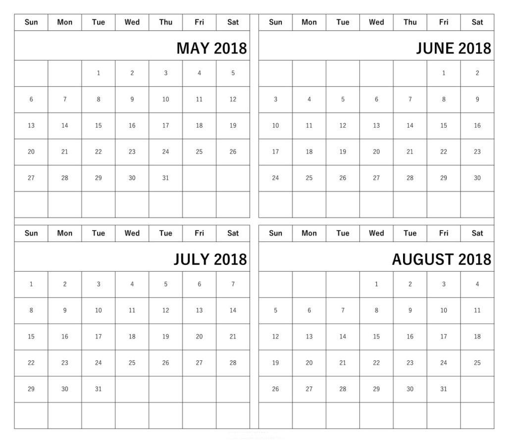 Printable Calendar 2018 May June July August | Printable Calendar 2019 intended for Printable Calendar For May June July