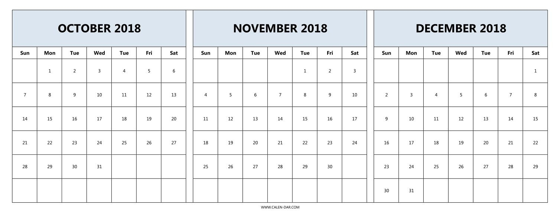 Printable Calendar 2018 November And December | Printable Calendar 2019 throughout Print Calendar For October November December