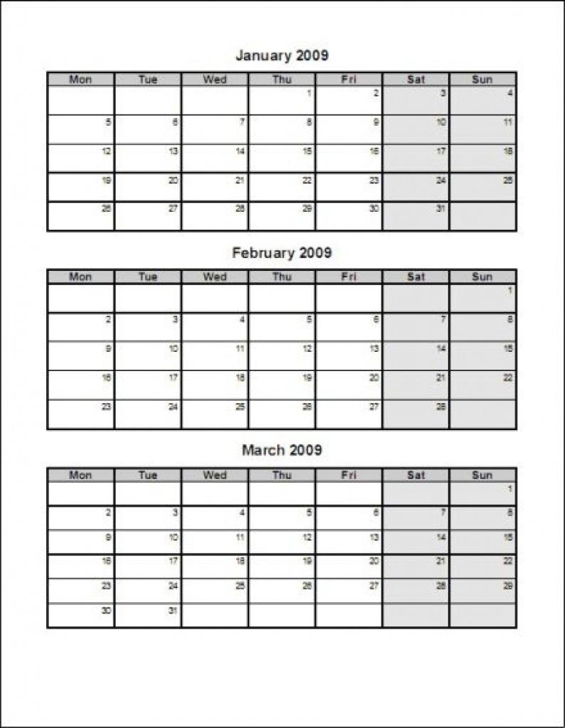 Printable Calendar 2018 Three Months Per Page | Printable Calendar 2019 for Calendar Template 3 Months Per Page