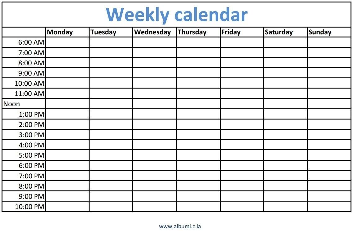 Printable Calendar 2018 With Time Slots | Printable Calendar 2019 regarding Week Calendar With Time Slots