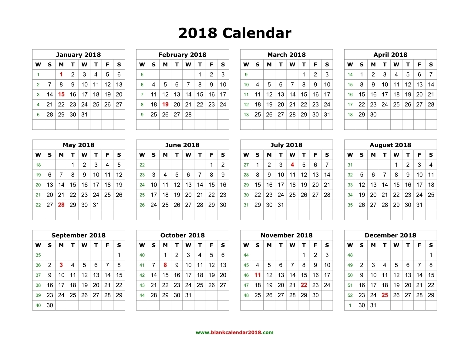 Printable Calendar 2018 Year View | Printable Calendar 2019 intended for Year At A View Calendar