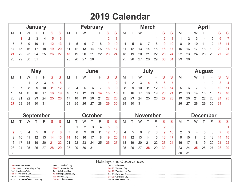Printable Calendar 2019 Australia | Printable Calendar 2019 within Australian Months Of Year Printable