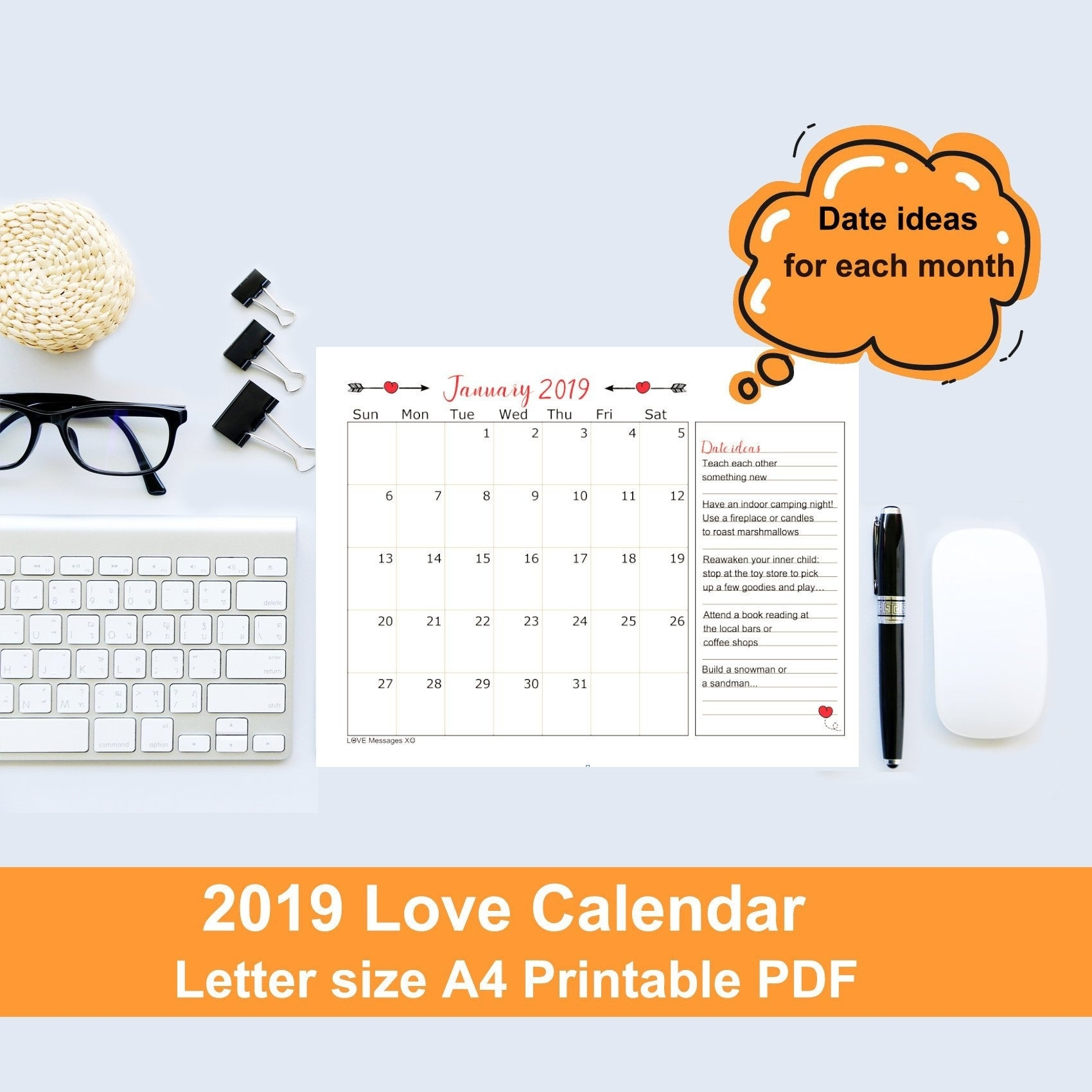 Printable Calendar 2019 Date Night Ideas Digital Calender | Etsy pertaining to 12 Month Photo Calendar Ideas Naughty
