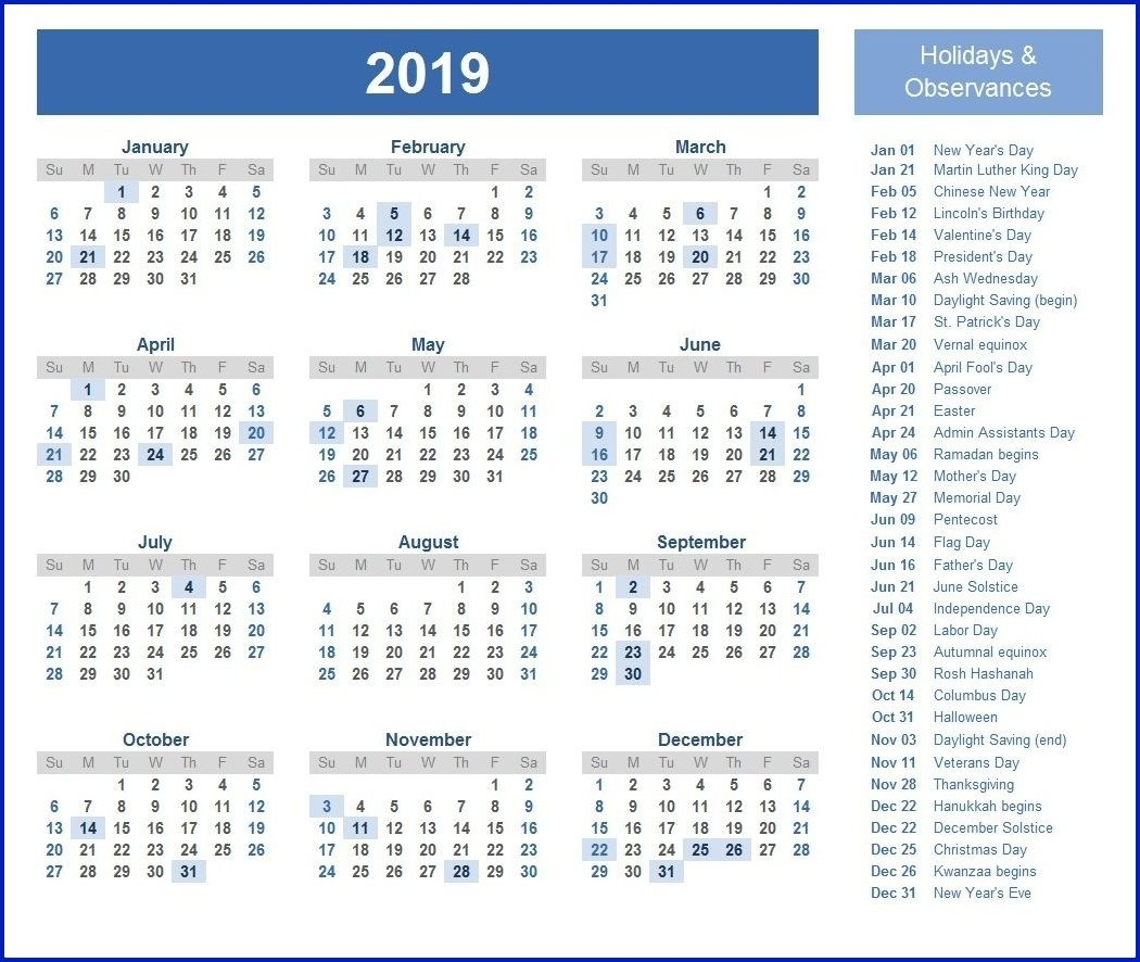 Printable Calendar 2019 Holidays | Yearly Calendar In One Page in 12 Month Calendar Picture Ideas