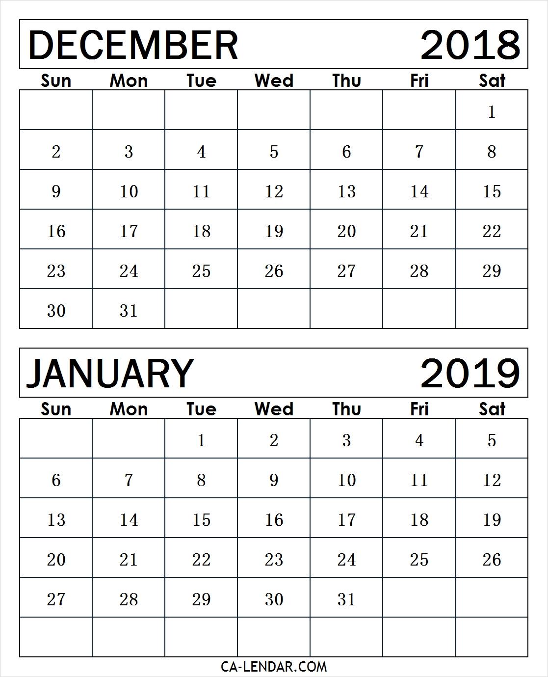 Printable Calendar Dec 2018 Jan 2019 | Printable Calendar 2019 intended for Calendar Images From Jan To Dec