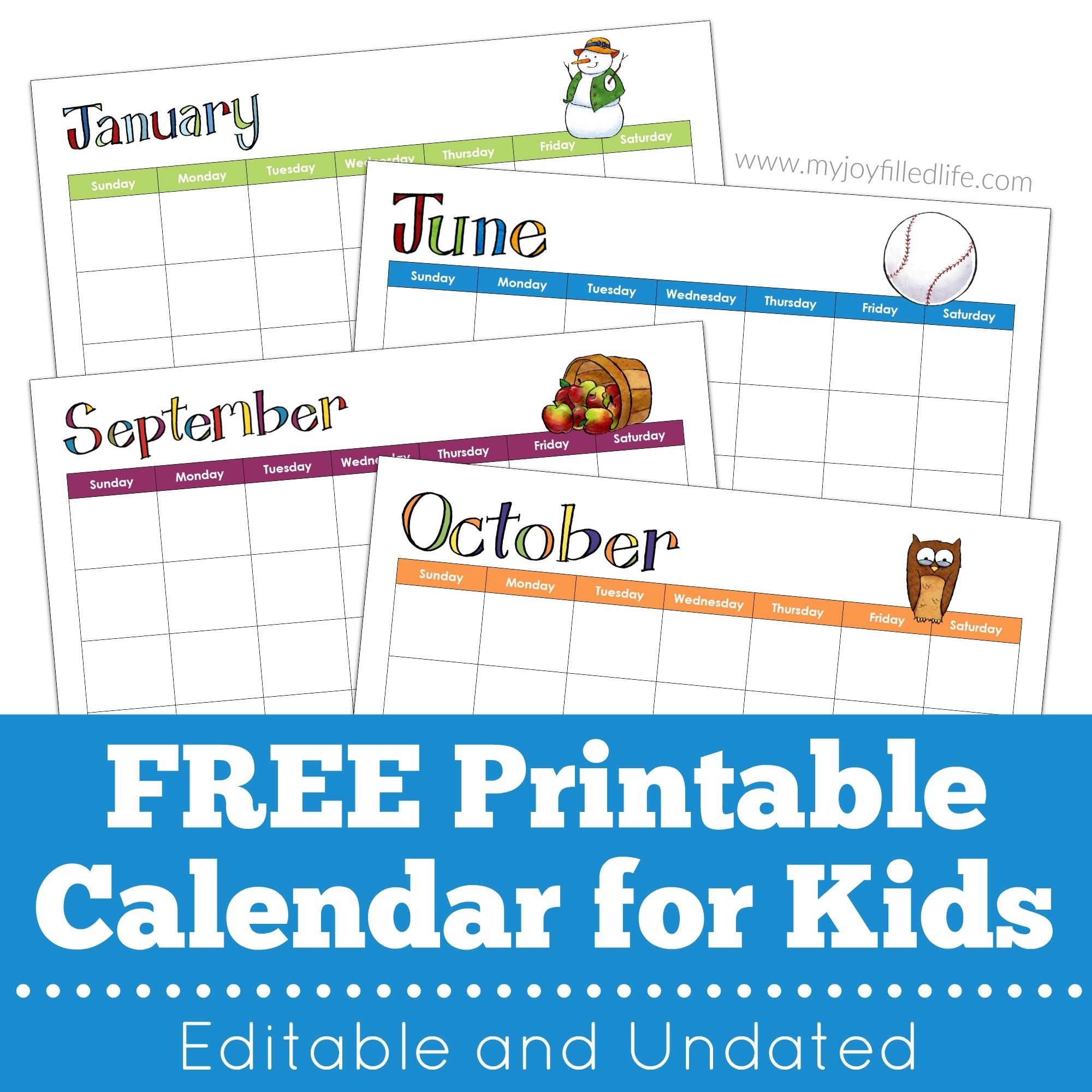 Printable Calendar - Editable & Undated - My Joy-Filled Life in Undated Printable Monthly Calendar Free