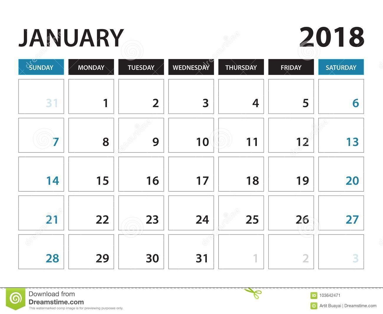 Printable Calendar For January 2018, Week Starts On Sunday Stock throughout Calendar By Week With Printable