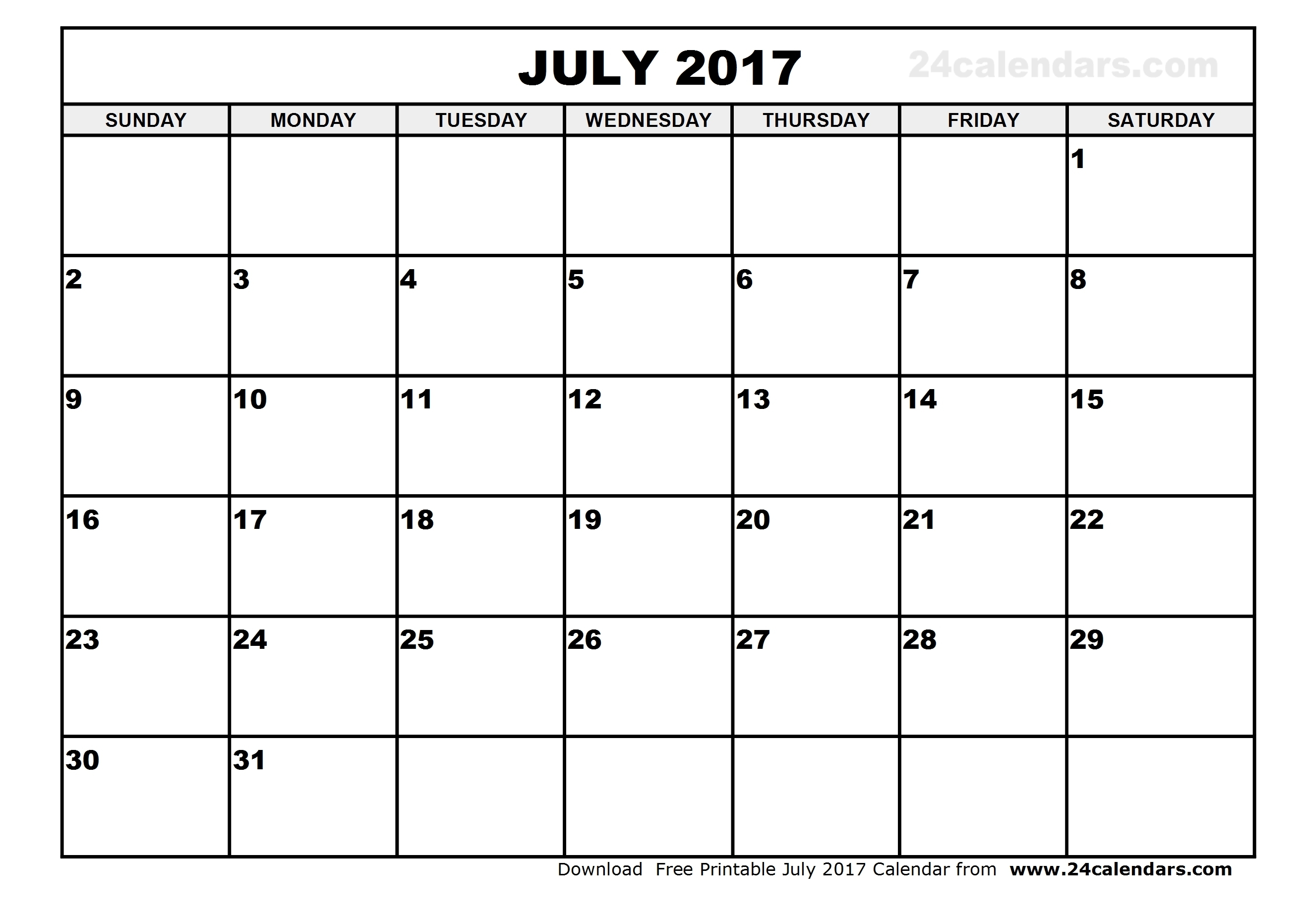Printable Calendar For July 2017 - Printable Calendar & Birthday Cards in June And July Printable Calendars