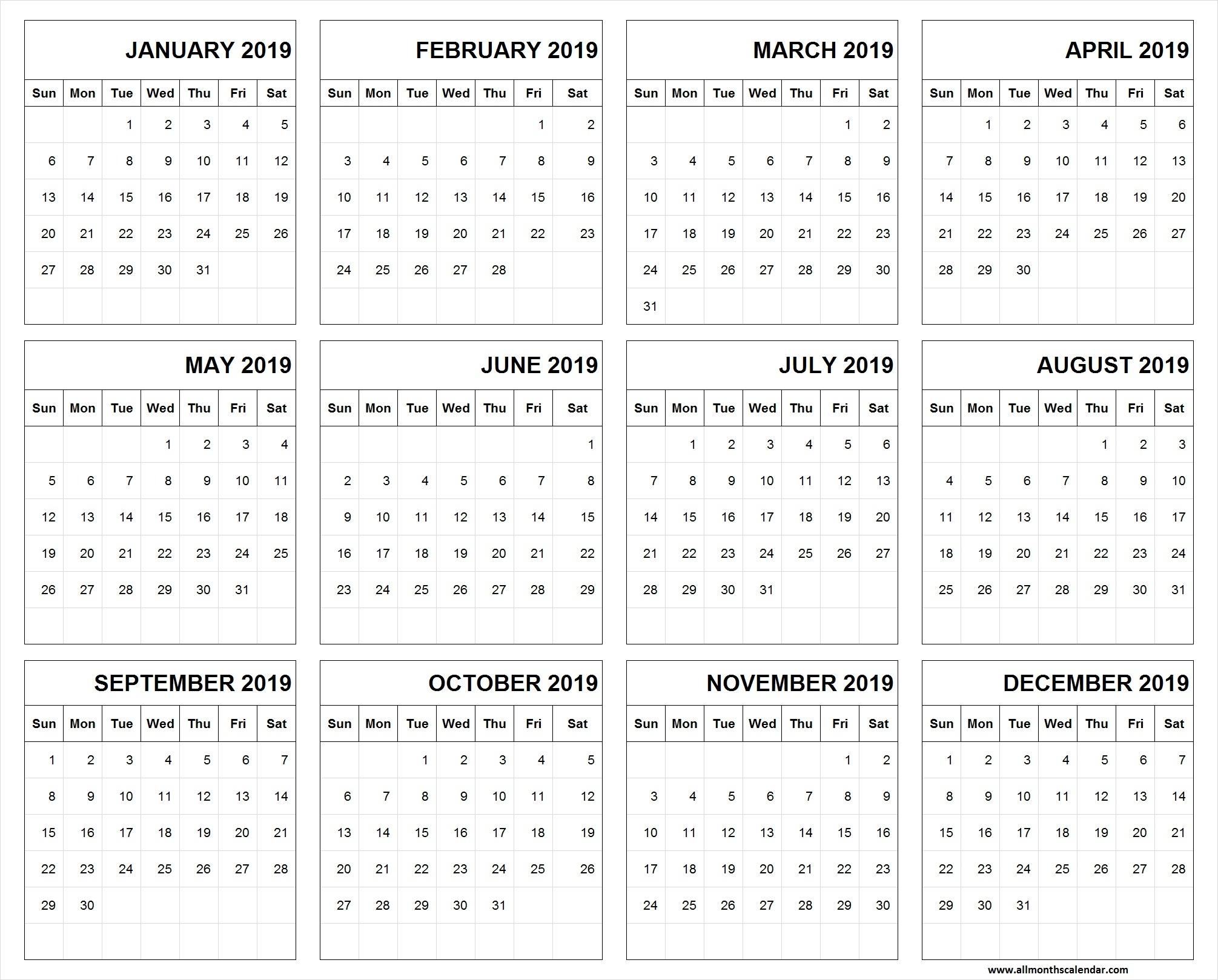 Printable Calendar January 2019 To December 2019 Template | 12 Months pertaining to Images Of A Calendar January Through December