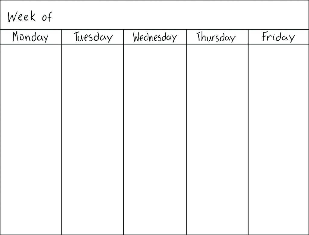 Printable Calendar Monday Through Friday | Printable Calendar 2019 for Blank Calendar Template Monday Friday