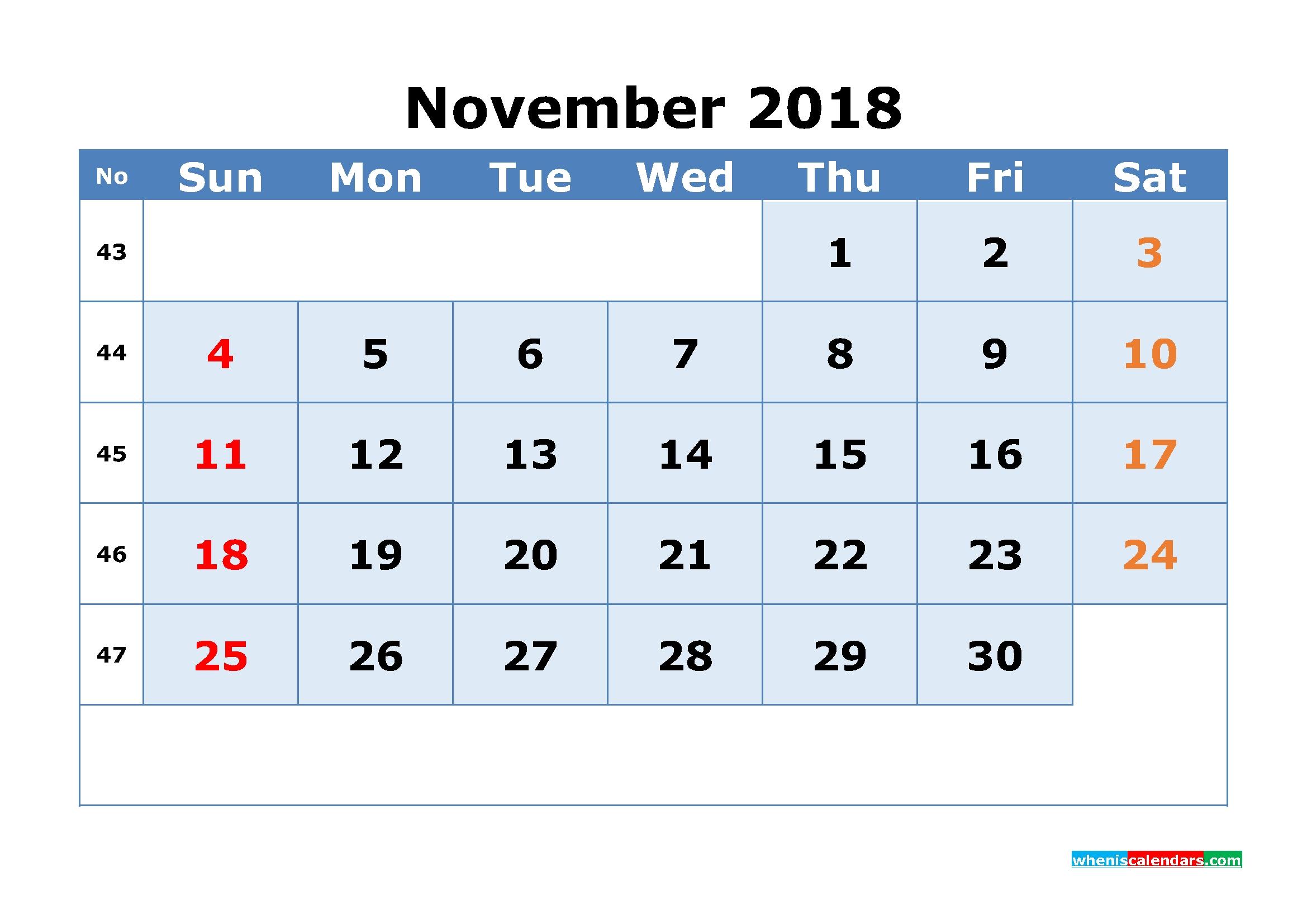 Printable Calendar November 2018 With Week Numbers As, Image | Free throughout Calendar Weeks Printable No Datwes