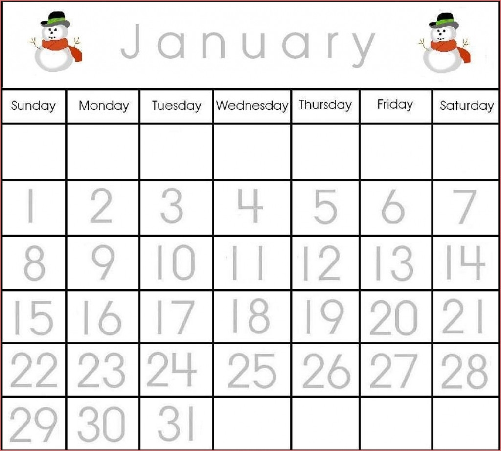 Printable Calendar Numbers 1 31 Free Free Calendar Template within Printable Preschool Numbers 1 31