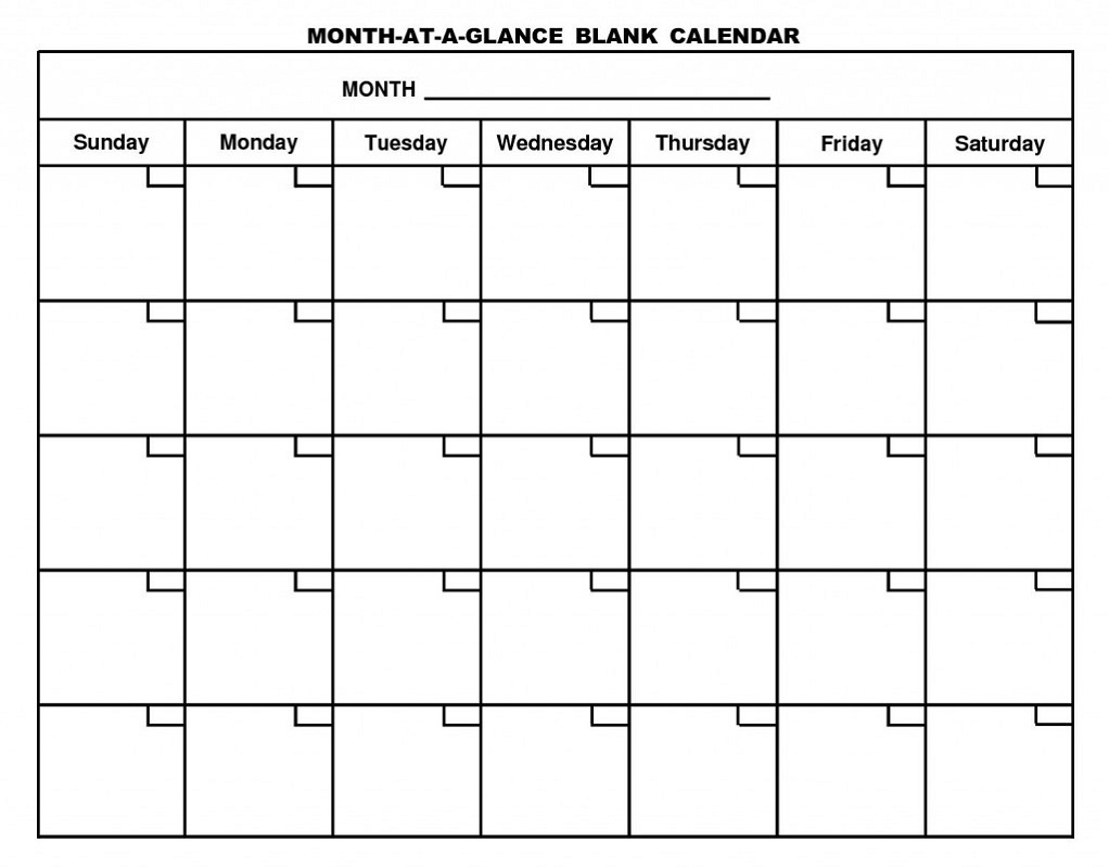 Printable Calendar Pages Monthly | Activity Shelter in Blank Calendar For A Month