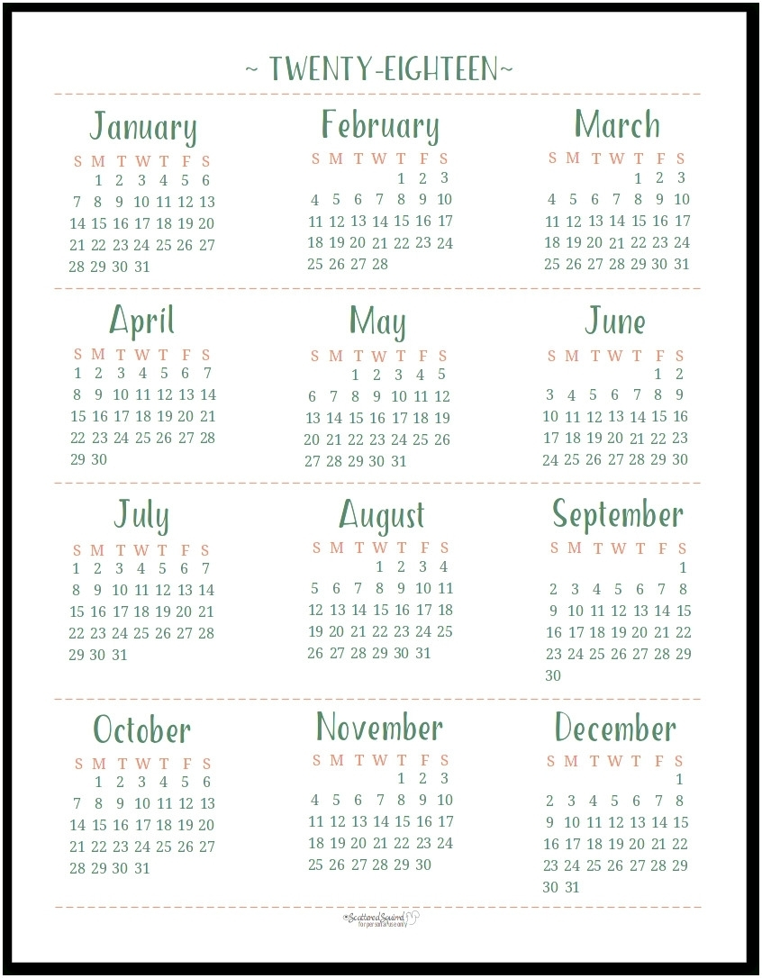 Printable Calendar Year At A Glance 2018 | Printable Calendar 2019 regarding Year In A Glance Calendar