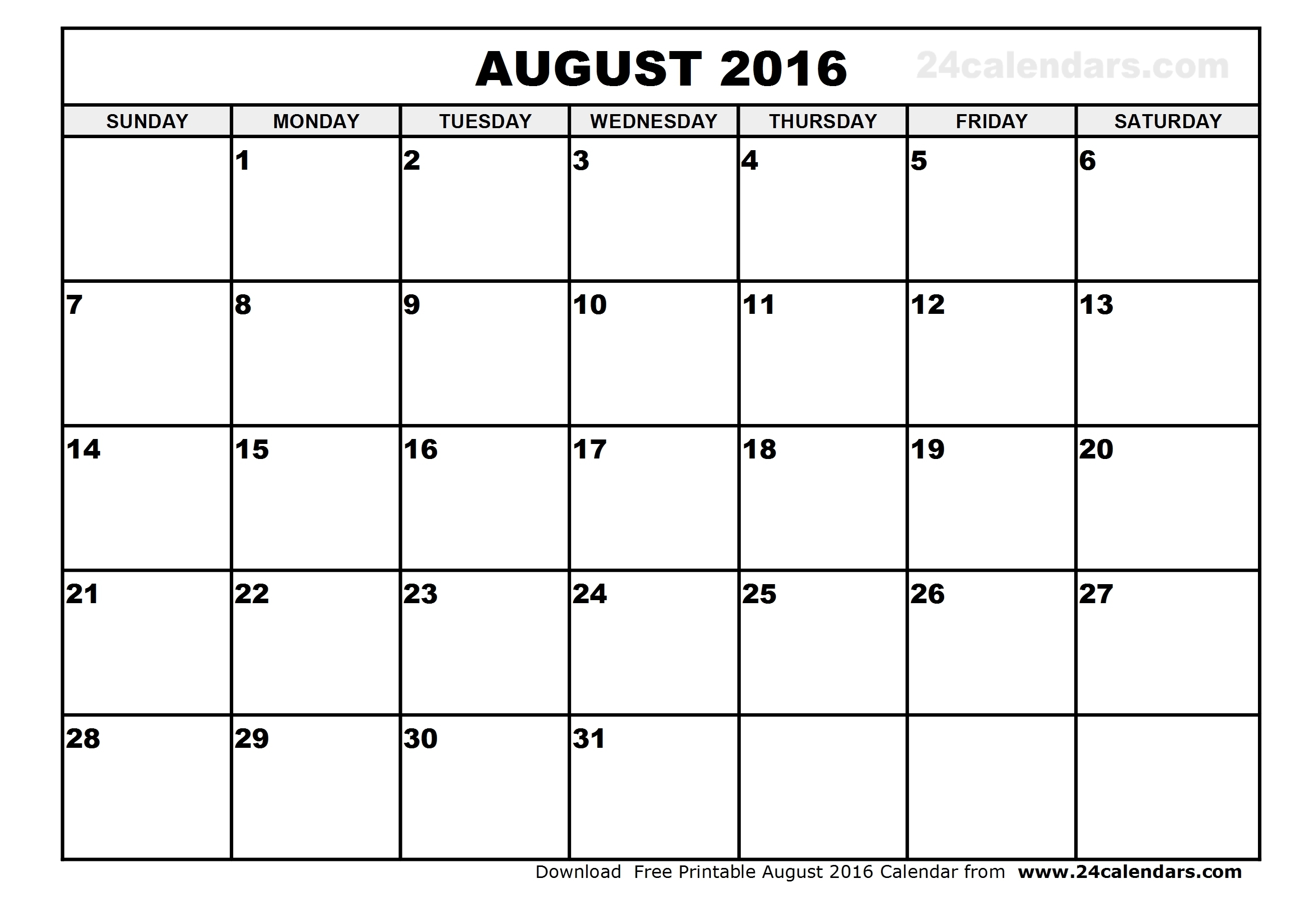 Printable Calendars August 2016 | Aaron The Artist in Month Of August On A Calendar