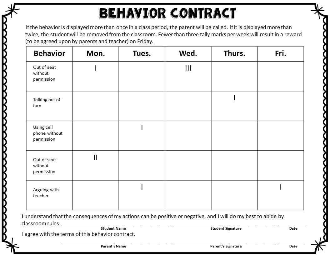 Printable Chart Printable-Behavior-Charts-For-Middle-School-Students within Printable Behavior Graph For Parents