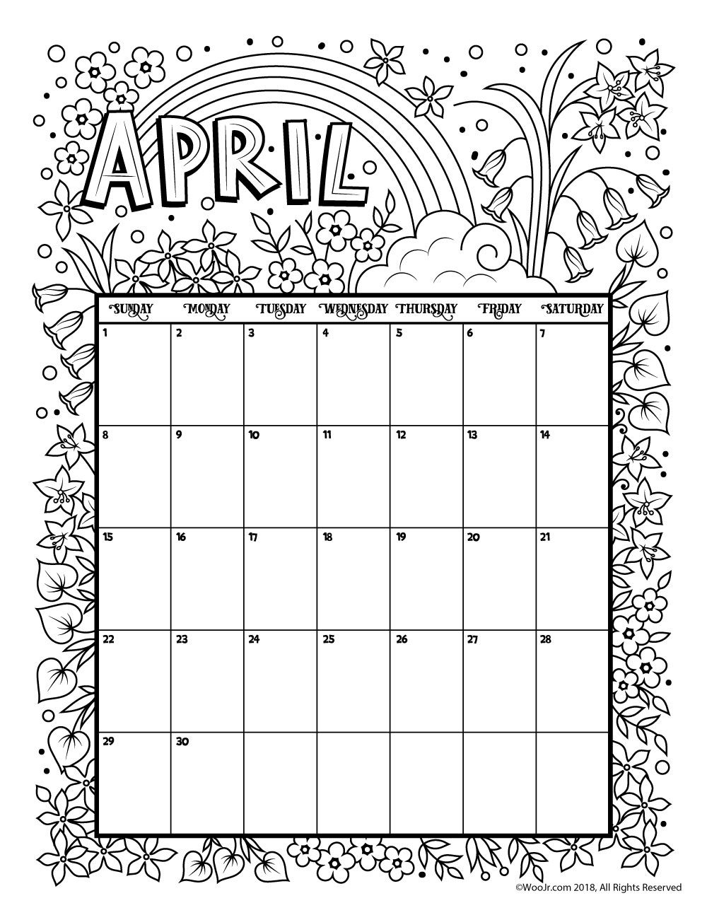 Printable Coloring Calendar For 2019 (And 2018!) | Holiday Happiness with Free Coloring Calendars For June