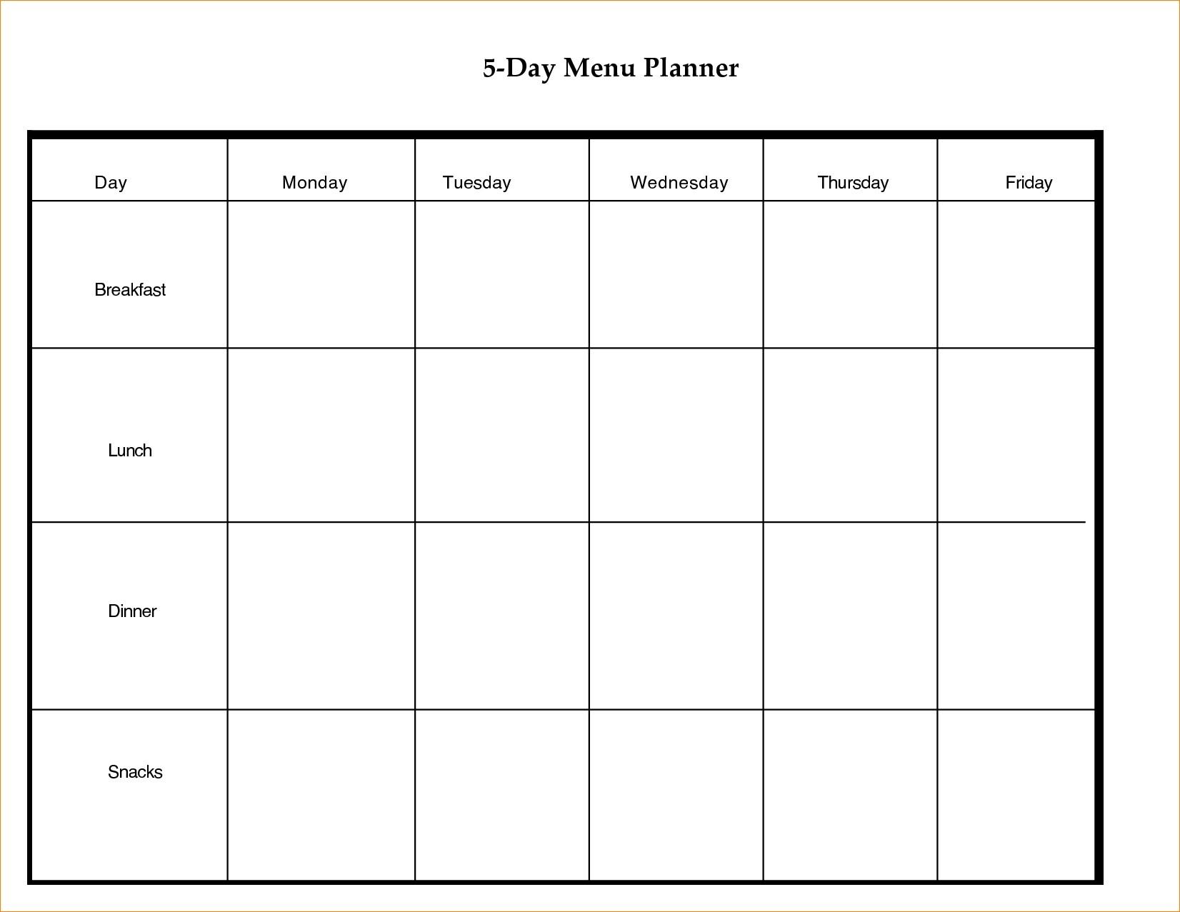 Printable Day Calendar Blank Template Week With Weekly Excel Word in 5 Day Week Calendar Template