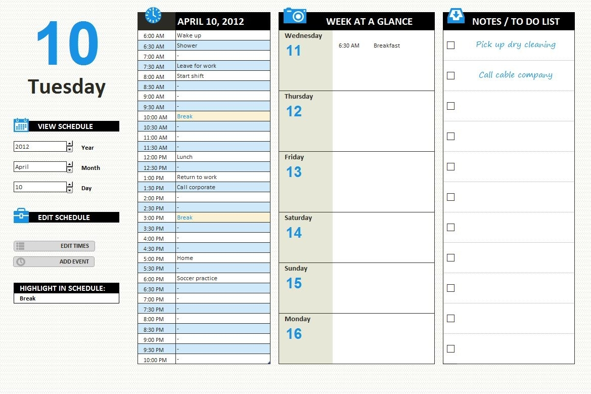 Printable Day Planner | Free Printable Day Planner with Excel Calendar By Day For Planning