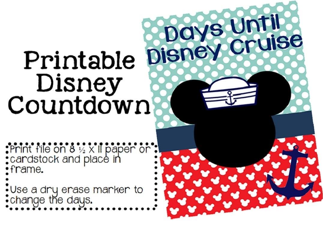 Printable Disney Cruise Countdown Instant Download | Etsy in Disney Cruise Countdown Calendar Printable