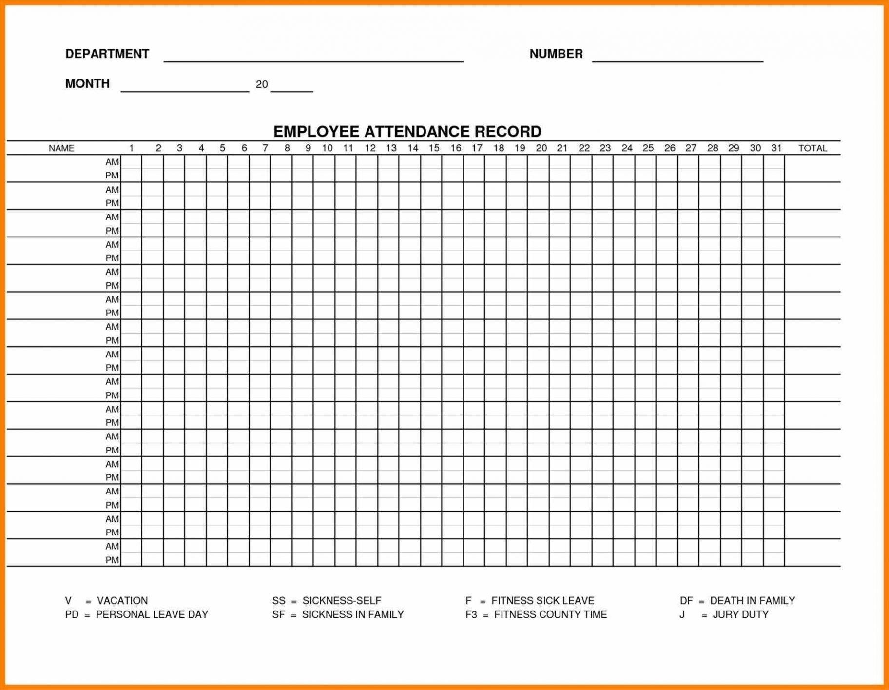 Printable Employee Attendance Sheet Excel 2018 Within Employee with regard to Excel Employee Attendance Calendar Template