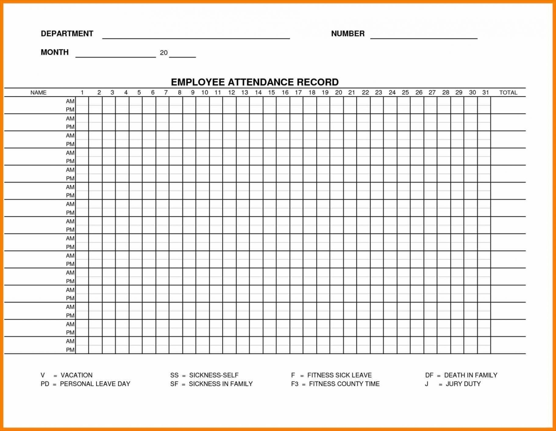 Printable Employee Attendance Sheet Excel 2018 Within Employee with regard to Printable Employee Attendance Calendar Template Excel