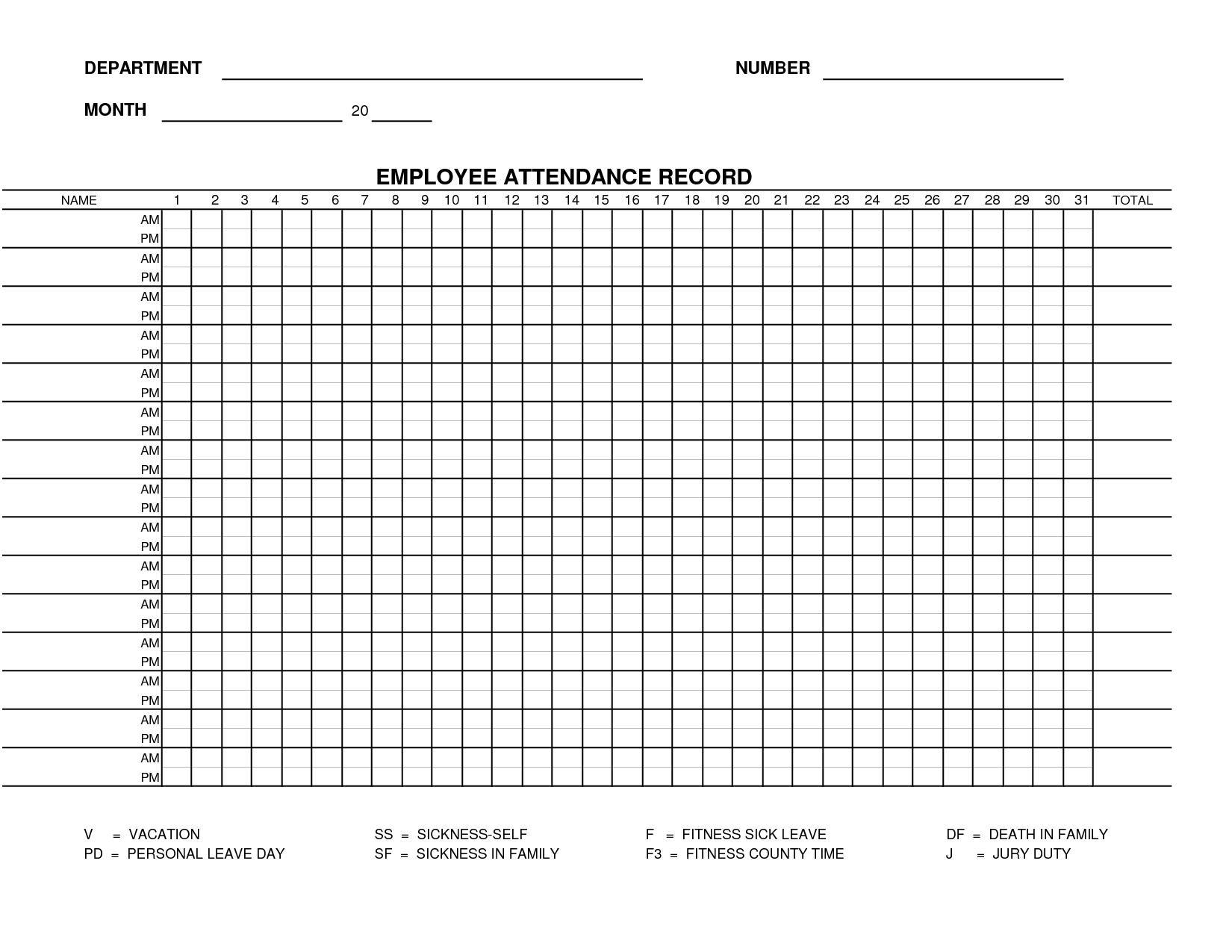 Printable Employee Attendance Sheet Template   Form 15 - Employee with regard to Printable Employee Attendance Calendar Template