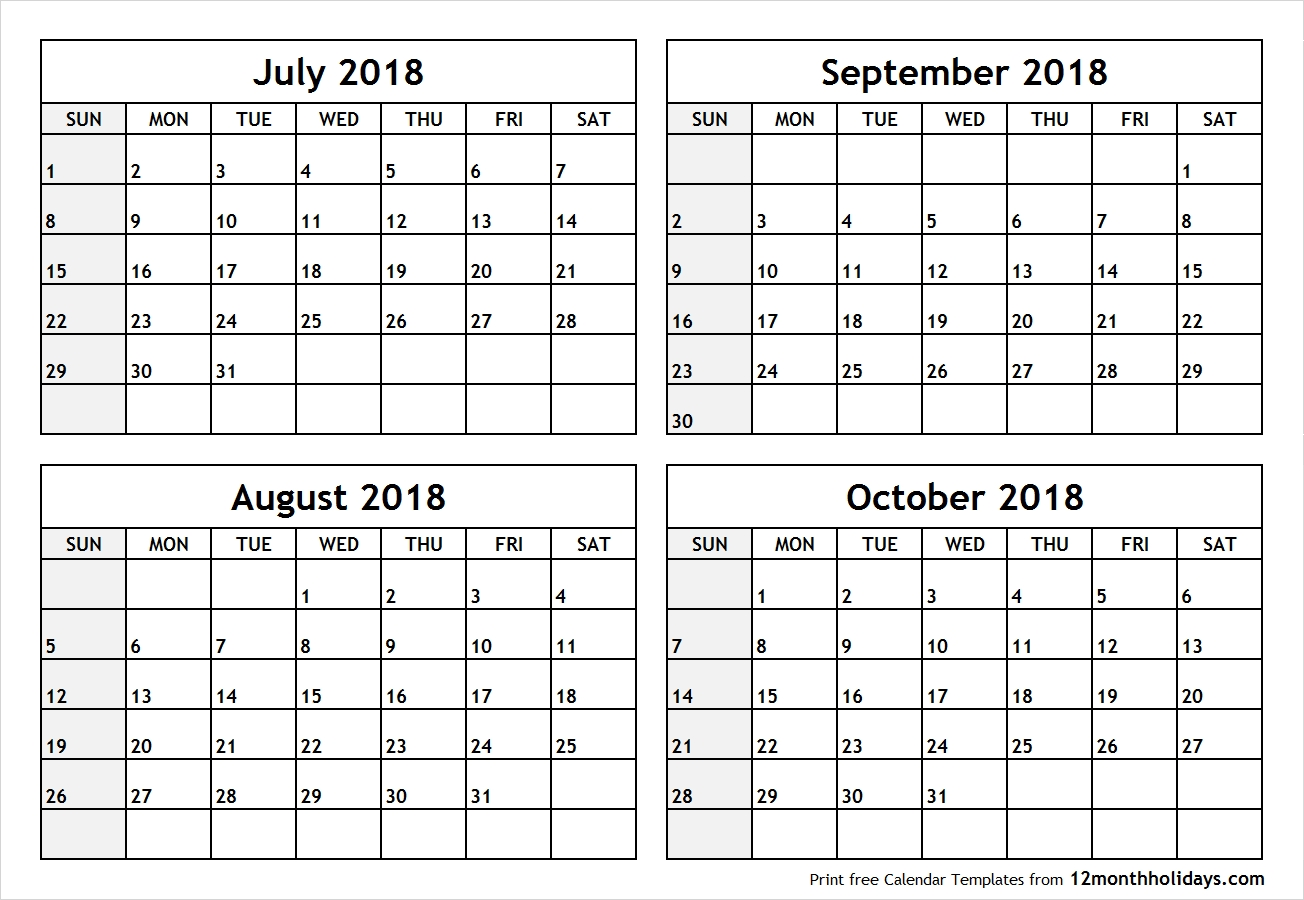 Printable Four Month July August September October 2018 Calendar intended for Printable July Through August Calendars