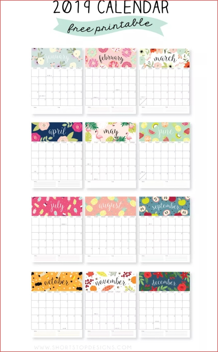 Printable Free Calendar 2019 2019 Calendar Year At A Glance in Year At A Glance Printable