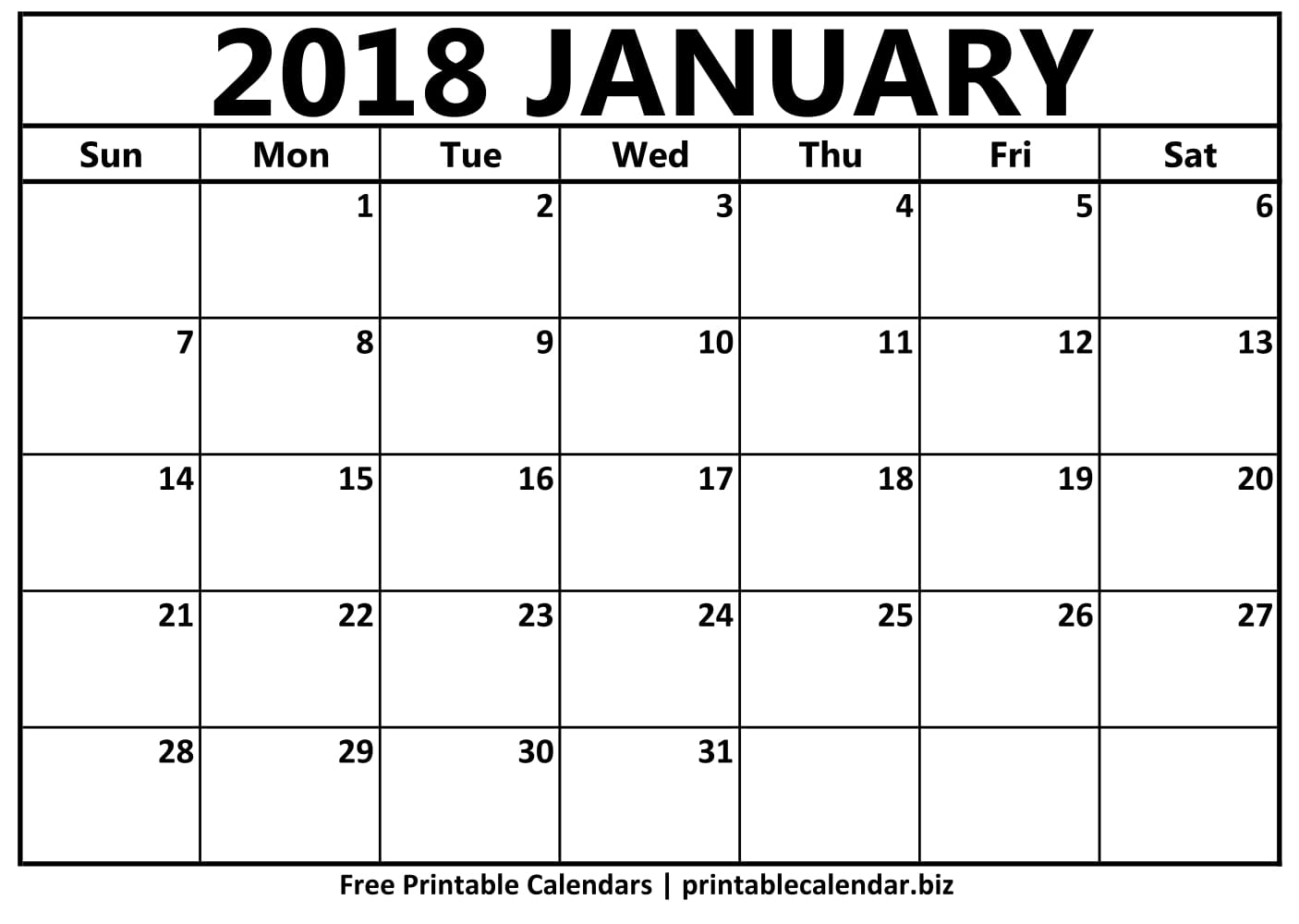 Printable January 2018 Calendar - Printable Calendar & Birthday Cards regarding Picture Of A January Calender