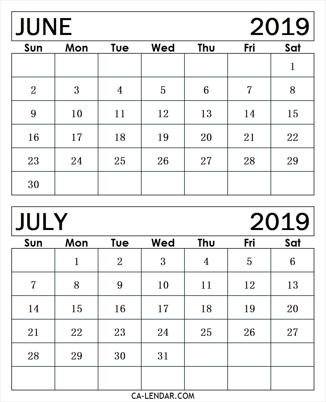 Printable June And July 2019 Calendar Monthly Templates - Calendar intended for Calender For June And July