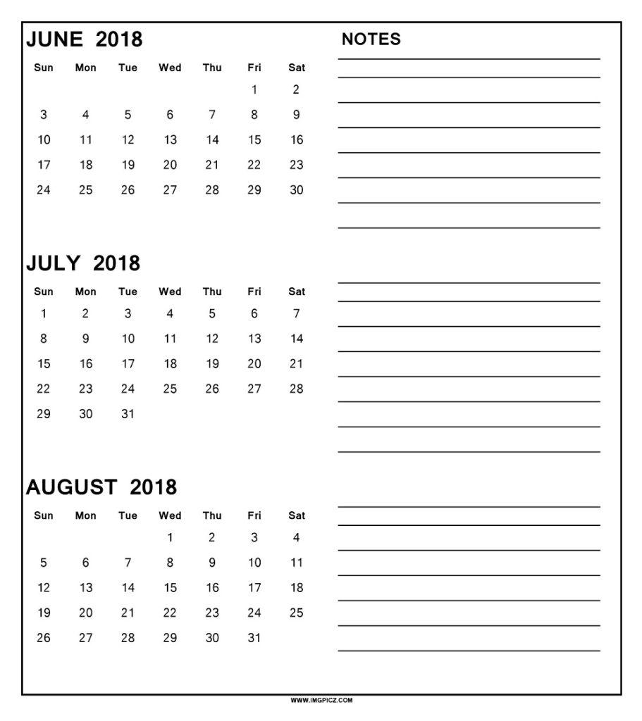 Printable June July August 2018 Calendar 3 Month Template Download inside Download A 3 Month Calendar