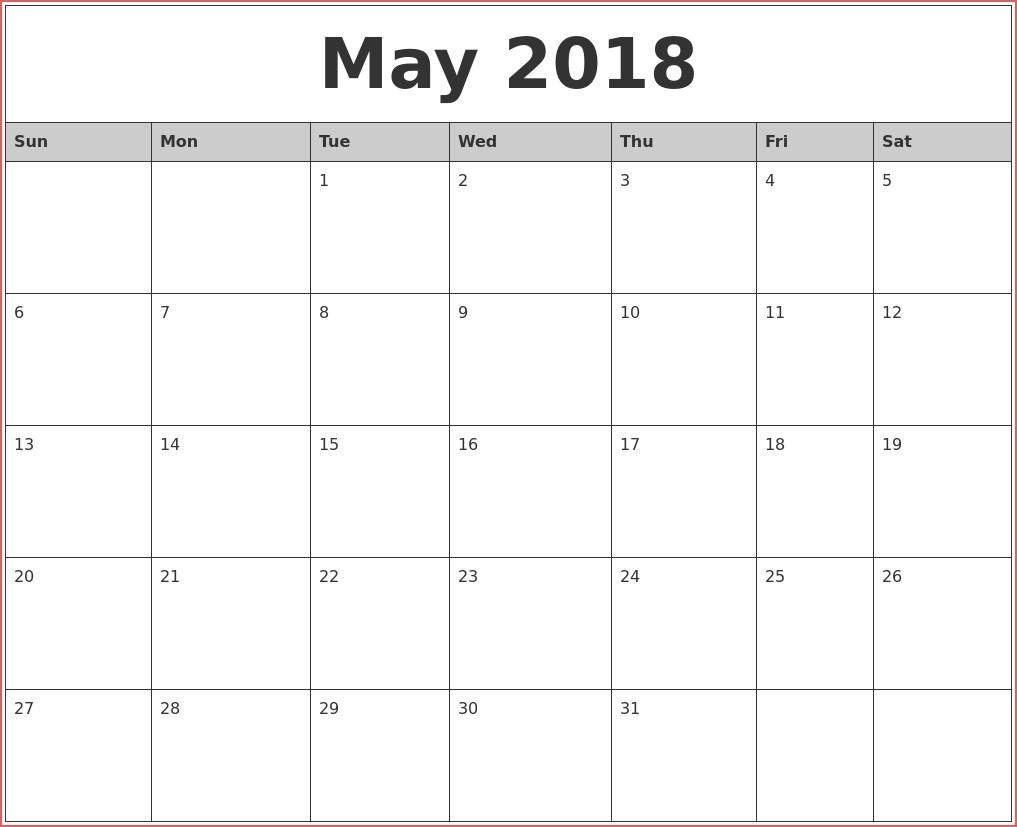 Printable May 2018 Calendar Blank Printable Templates Blank pertaining to Full Size Blank Printable Calendar