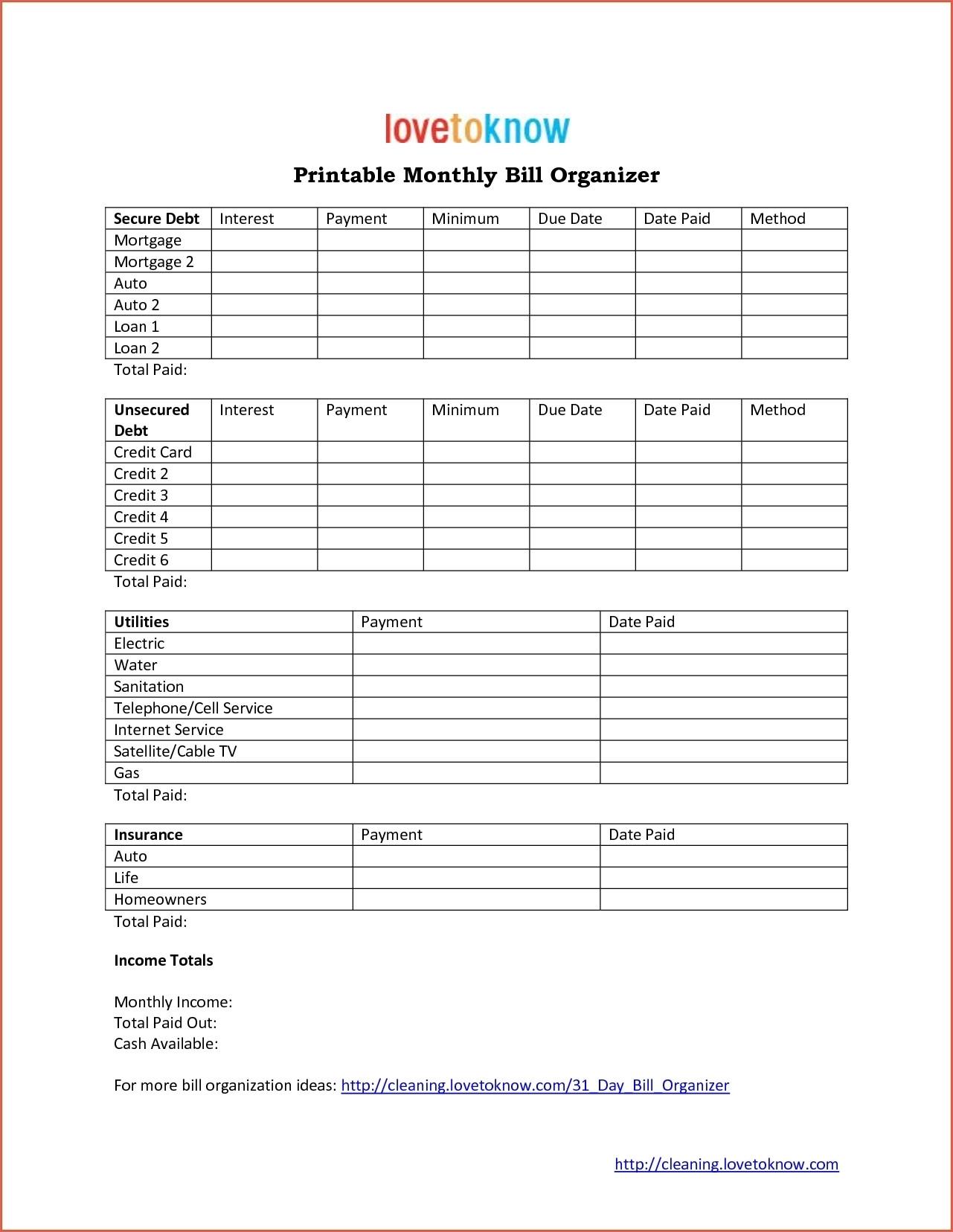 Printable Monthly Bill Calendar Bills Organizer Template Online with Monthly Bill Calendar Template Printable