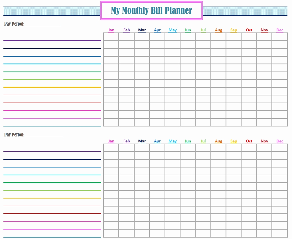 Printable Monthly Bill Organizer Download - Maco.palmex.co with Free Bill Organizer Template Downloads