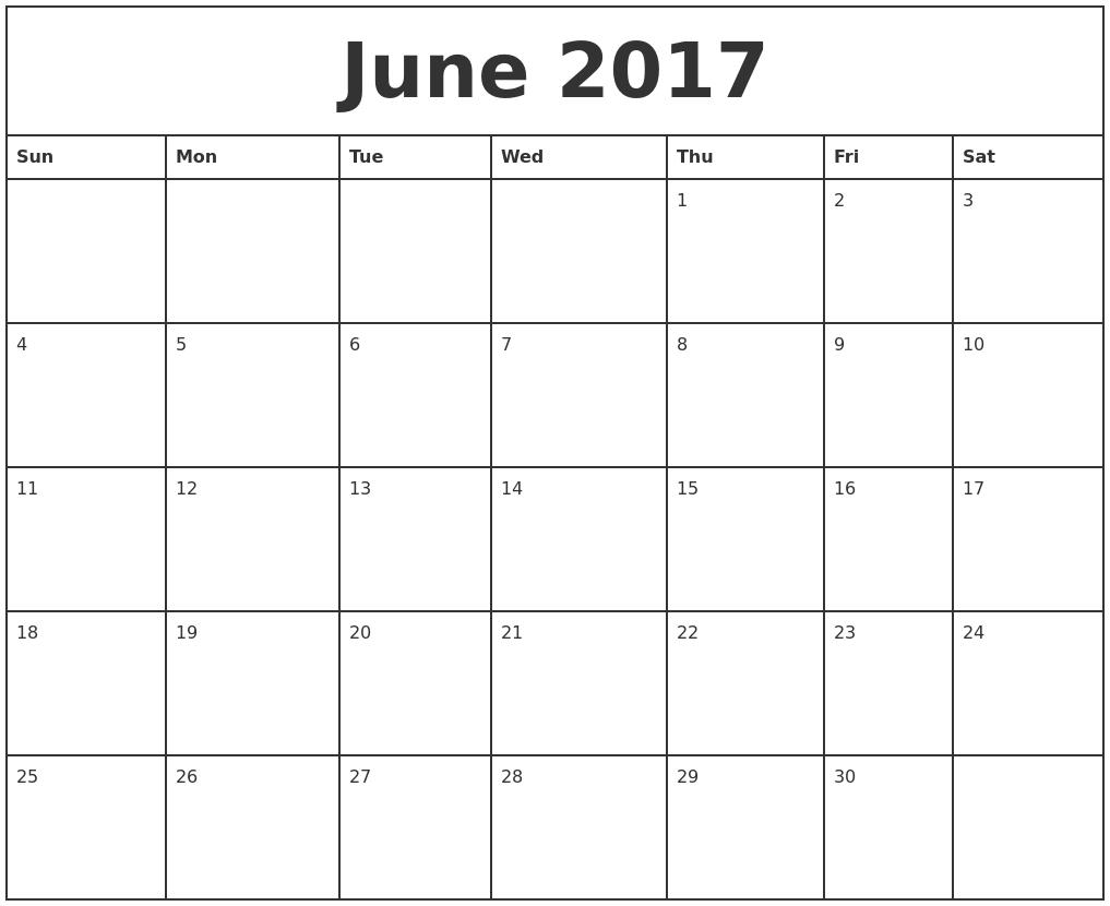 Printable Monthly Calendar June 2017 - Printable Calendar & Birthday throughout June And July Calendar Printable