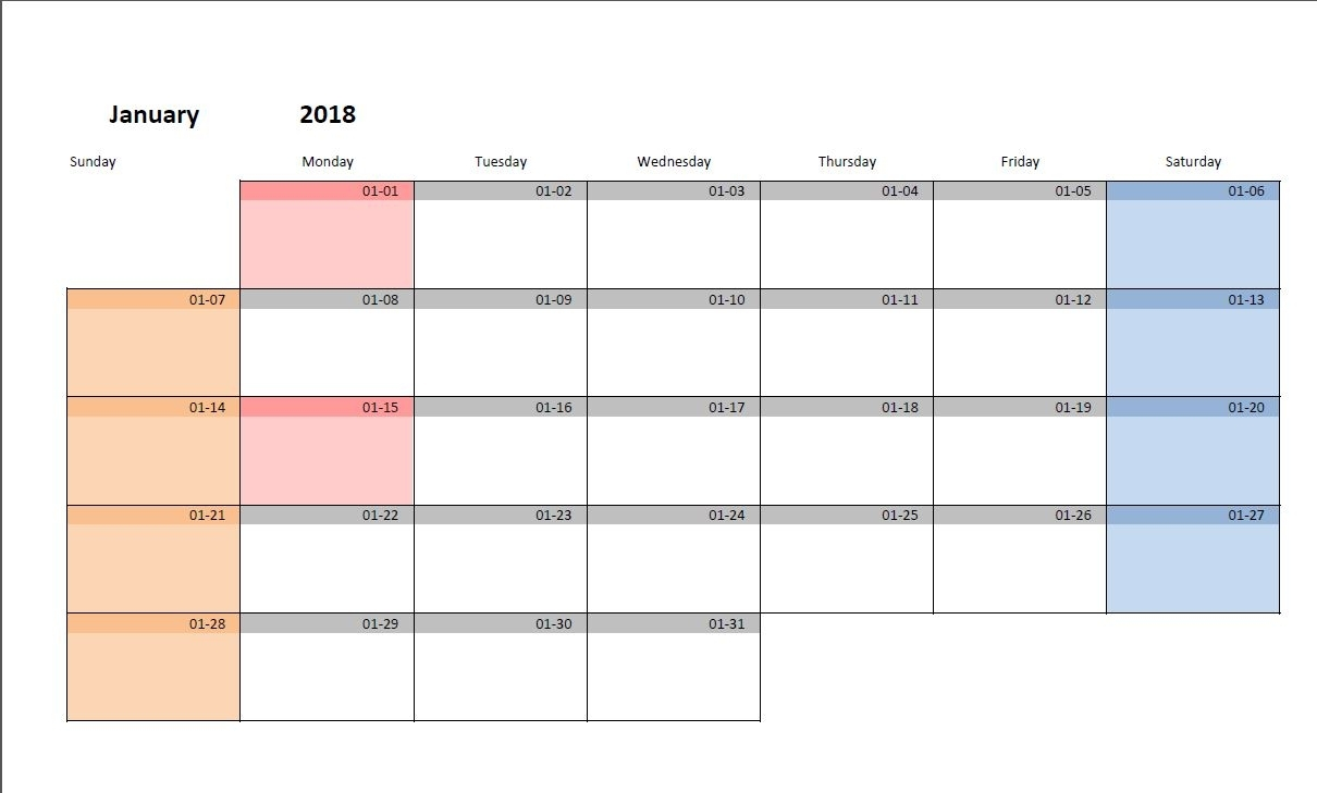 Printable Monthly Calendar Template For Excel | Excel-Malin with Free Printable Monthly Calendar Editable