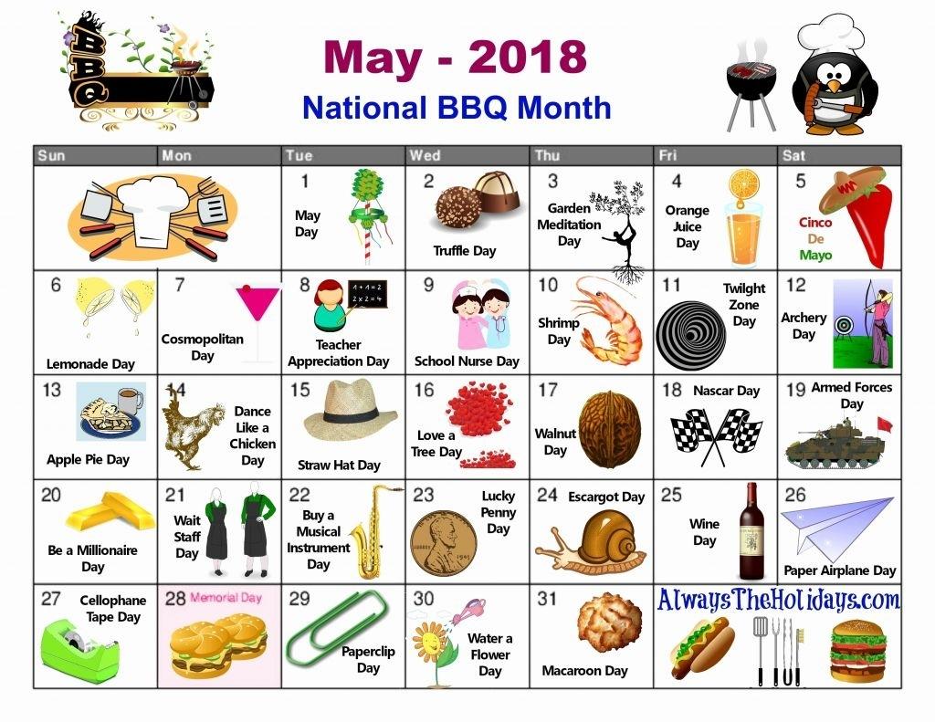 Printable National Days Calendar 2019 National Food Calendar 2016 within National Food Day Calendar Printable