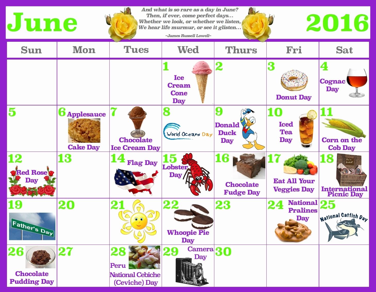 Printable National Food Day Calander October 2018 | Calendar Format inside National Food Day Calendar Printable