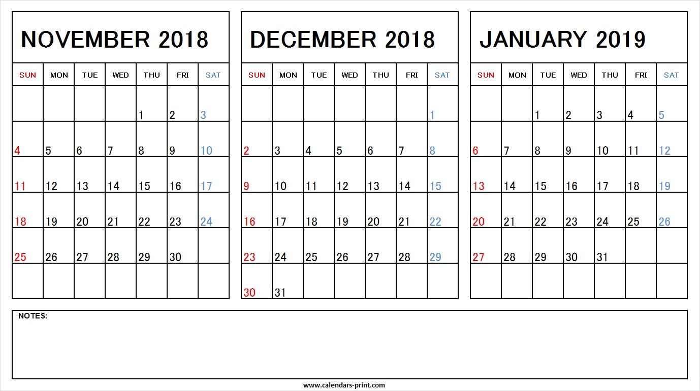 Printable Nov Dec 2018 Jan 2019 Calendar Excel Template Archives intended for Printable Nov Dec 17 Calendar