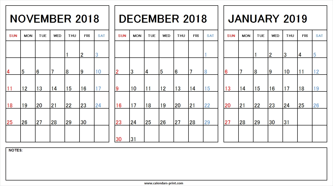 Printable Nov Dec 2018 Jan 2019 Calendar Excel Template Archives with regard to Calendar Images From Jan To Dec