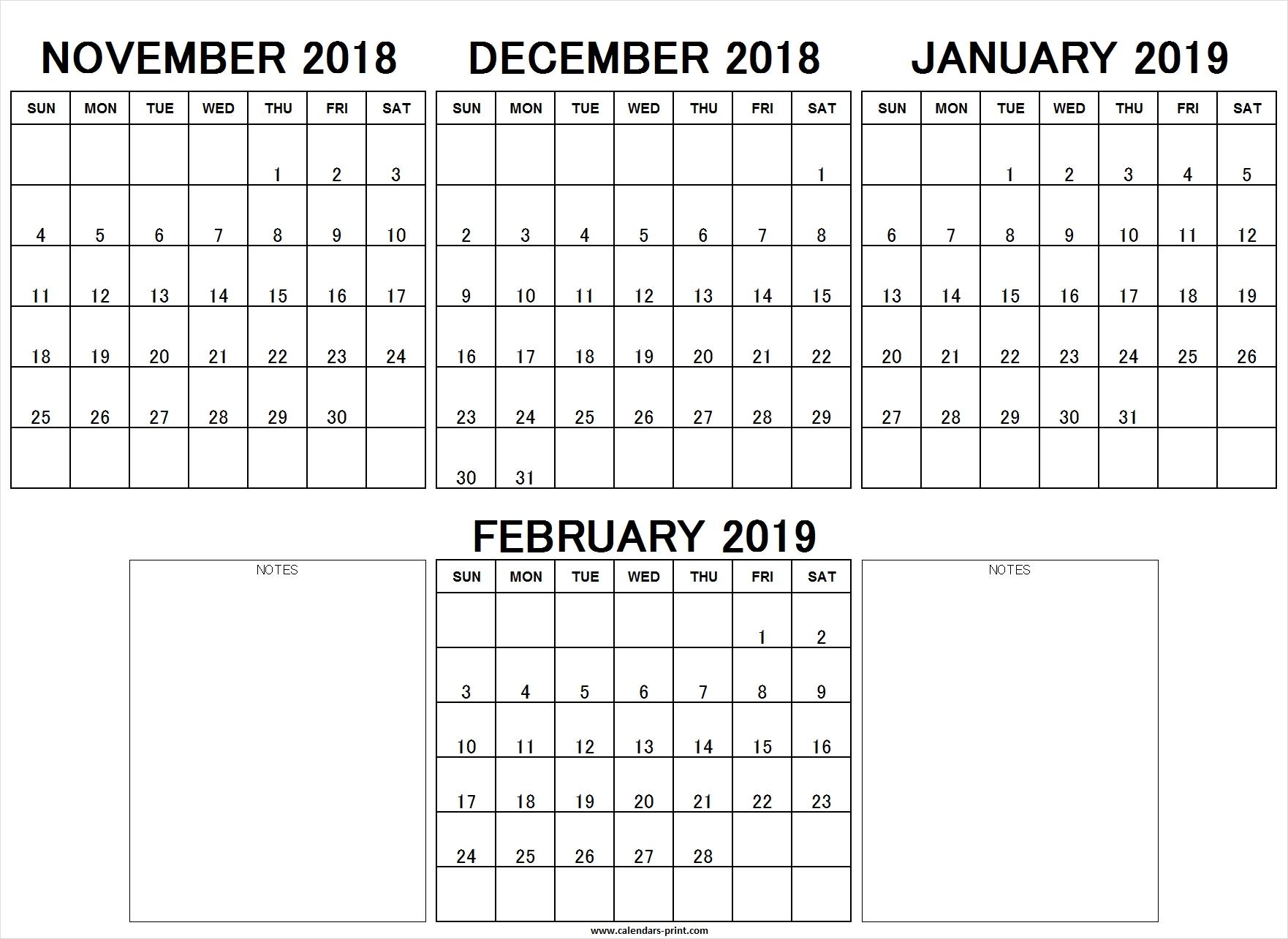 Printable Nov Dec 2018 Jan Feb 2019 Calendar Excel Template Archives throughout Calendar Images From Jan To Dec