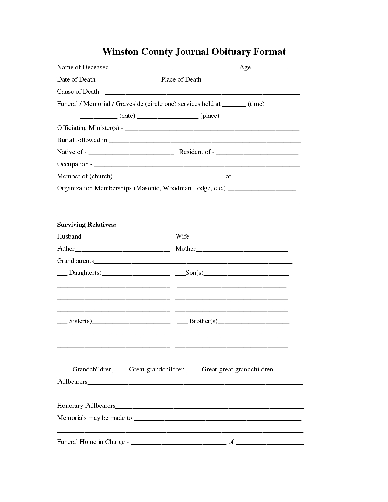 Printable Obituary Template | Fill In The Blank Obituary Template intended for Fill In The Blank Template