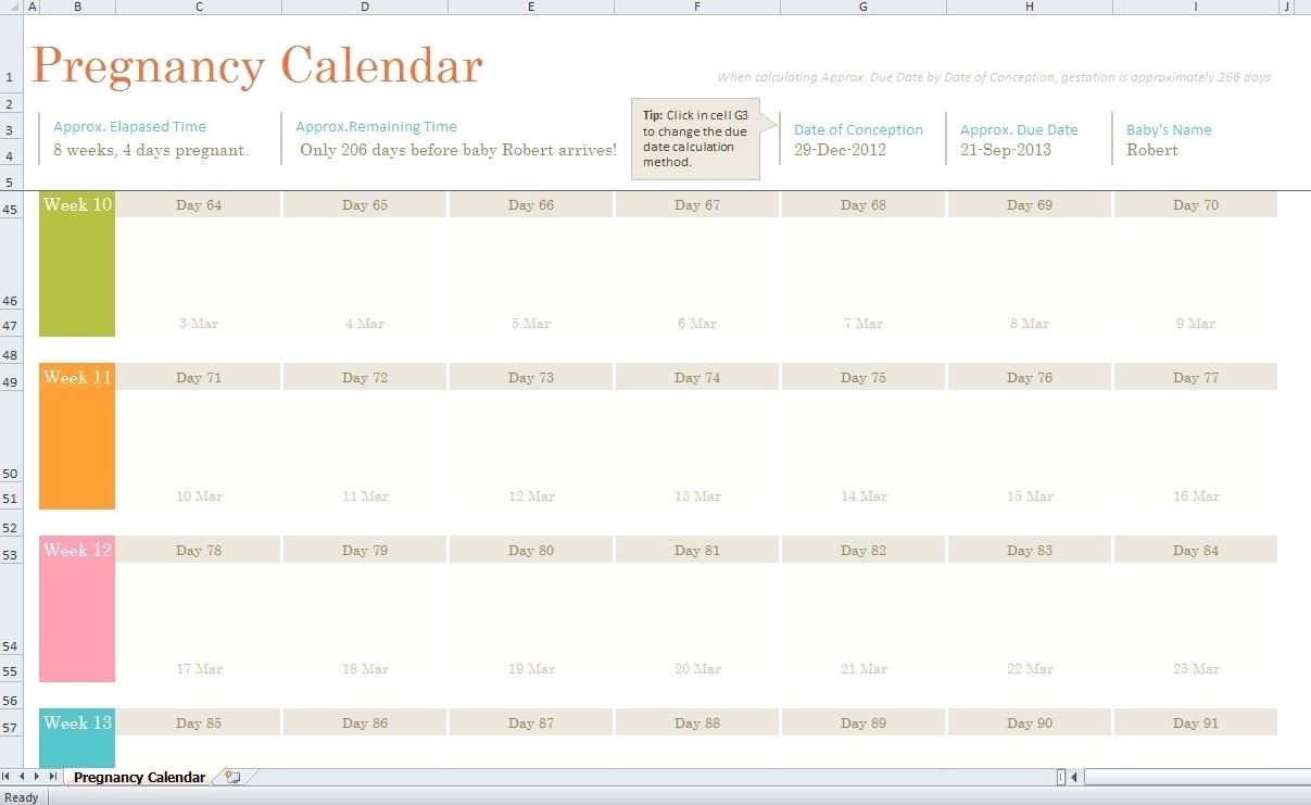 Printable Pregnancy Calendar | Jcreview for Ptegnancy Calender Day By Day