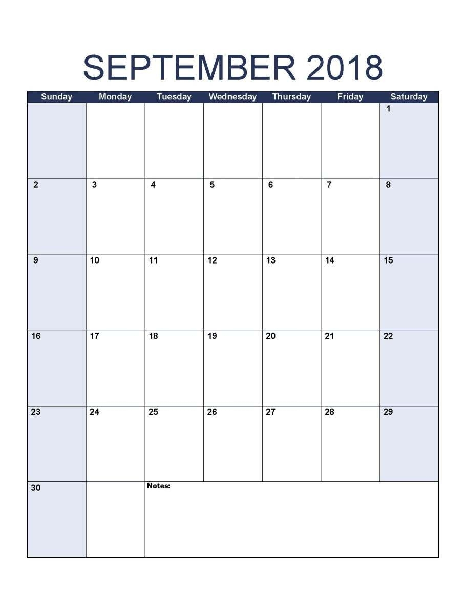 Printable September 2018 Calendar Portrait Z   1 Day To Day with Blank Monthly Holiday Sheet Template