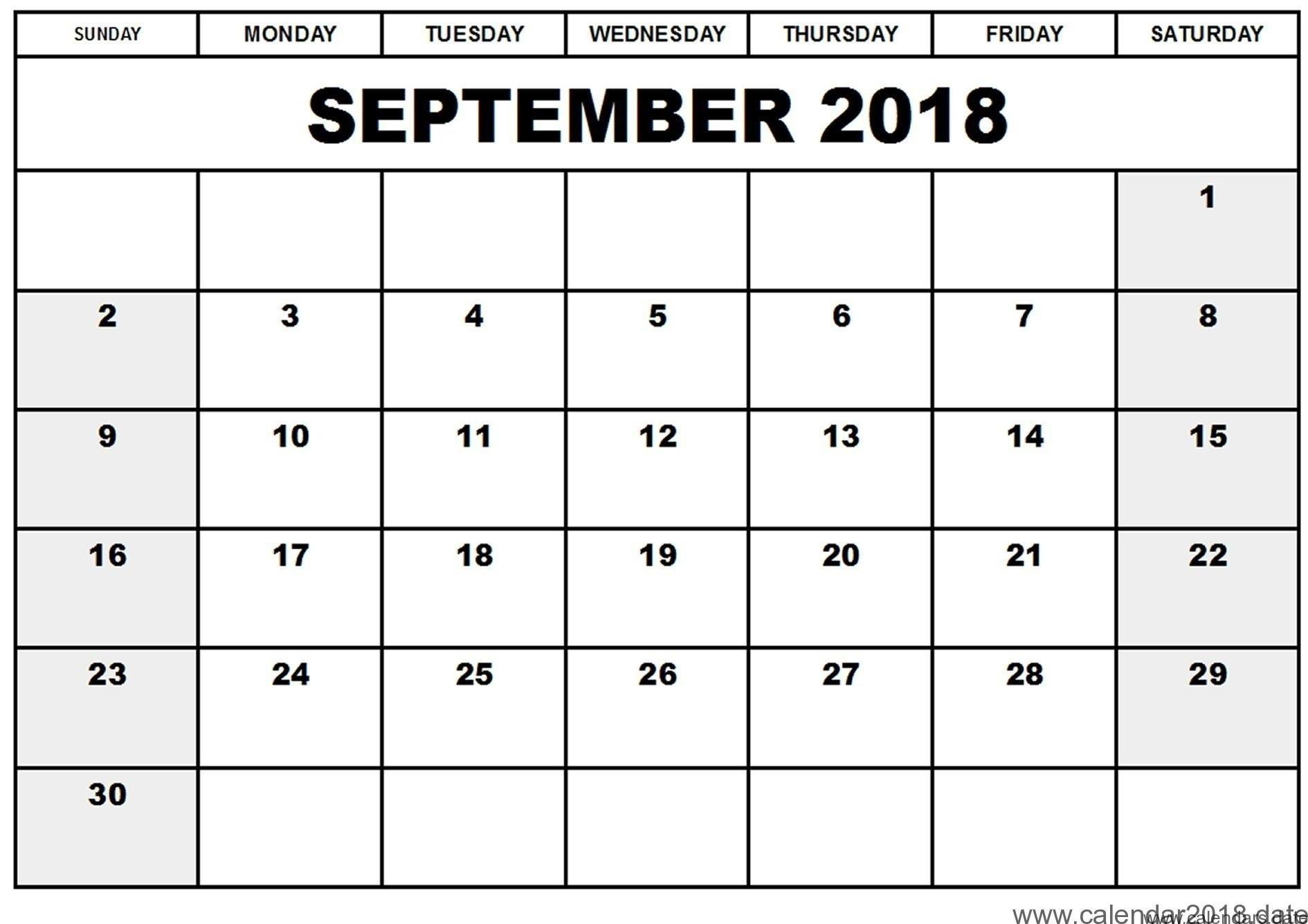 Printable September 2018 Calendar Template Business Template Ideas inside Calendar For Month Of September